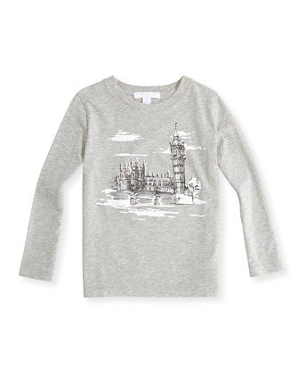 London-Sketch Tee, Gray Melange, 4Y-14Y