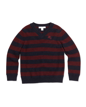 Striped Cashmere Pullover Sweater, Deep Claret, 4Y-14Y