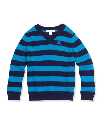 Striped Cashmere Pullover Sweater, Cerulean Blue, Boys' 4Y-14Y