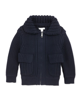 Chunky-Knit Zip Sweater, Navy, 4Y-14Y