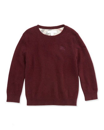 Cashmere Boys' Knit Elbow-Patch Sweater, Dark Red, 4Y-10Y