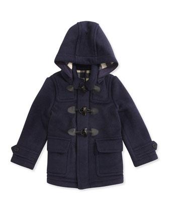 Boys' Wool Hooded Coat, True Navy, 4Y-10Y