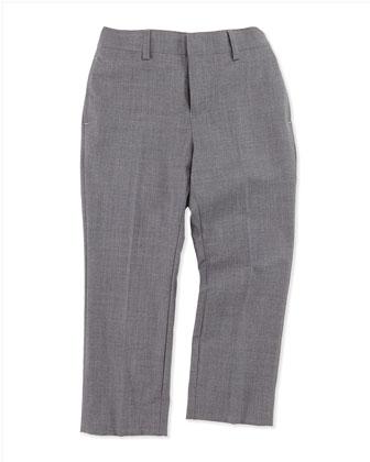 Wool Suit Trousers, Dark Charcoal, Boys' 4Y-14Y