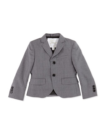Twill Suit Jacket, Gray, Sizes 4Y-14Y