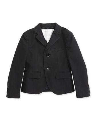 Gabardine Suit Jacket, Navy, 4Y-14Y