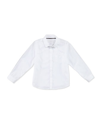 Poplin Dress Shirt, White, Boys' 4Y-14Y
