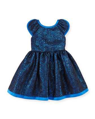 Damask Flower Dress, Blue, Girls' Sizes 2-10