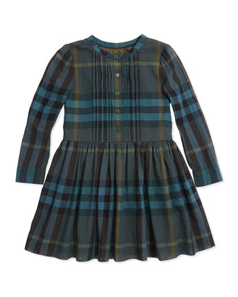 Button-Front Check Dress, Dark Forest Green, 4Y-14Y