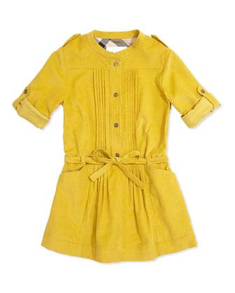 Pleated Corduroy Dress, Lemon Quartz, 4Y-14Y