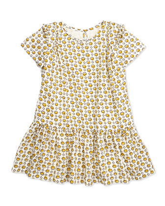 Hammered Print Silk Dress, Burnt Yellow, 4Y-14Y