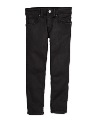 Waxed Skinny Jeans, Black, Girls' 4Y-10Y