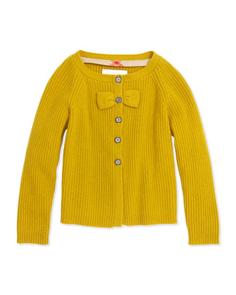 Cashmere Cardigan with Bow, Yellow Quartz, 4Y-14Y