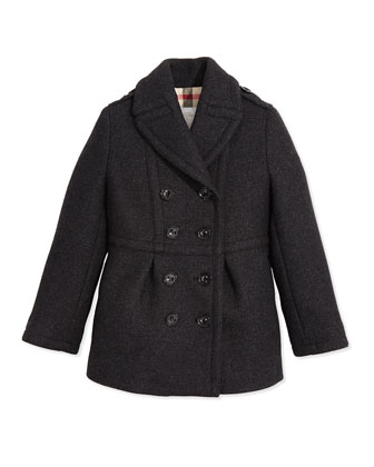 Classic Wool Trench Coat, Dark Gray Melange, 4Y-14Y