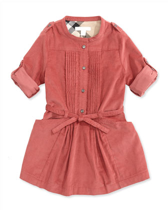 Pleated Corduroy Dress, Antique Rose, 4Y-14Y