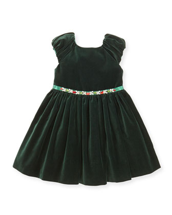 Velvet & Jewel Dress, Green, Girls' Sizes 2-10