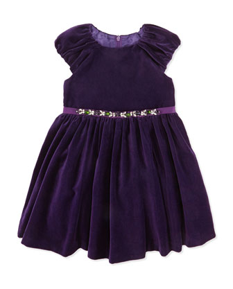 Jeweled Waist Velvet Dress, Purple, Sizes 2-10