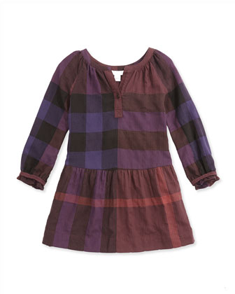 Exploded Check Drop-Waist Dress, Ebony Red, 4Y-14Y