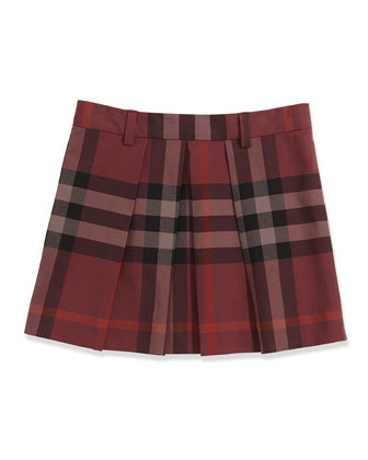 Check Pleated Skirt, Deep Claret, 4Y-14Y