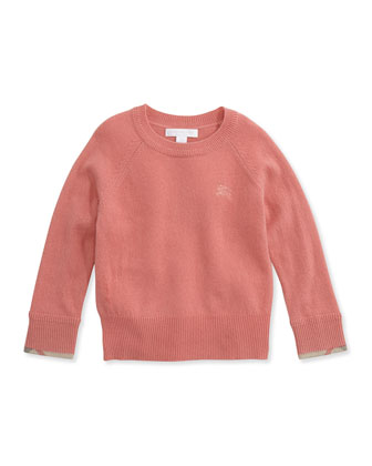 Cashmere Check-Cuff Sweater, Pale Rose, 4Y-14Y