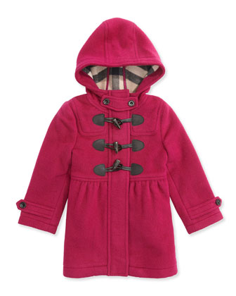 Girls' Toggle Coat with Hood, Fritillary Pink, 4Y-14Y