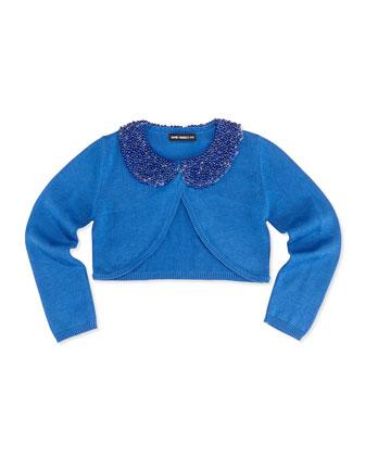 Beaded Collar Cardigan, Blue