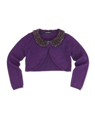 Beaded Collar Cardigan, Purple
