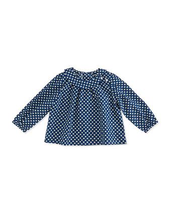 Sadie Apple-Print Tunic Top, Blue/White, 3-24 Months