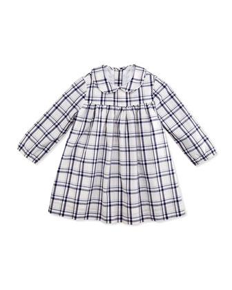 Ginny Plaid Dress, White/Navy, 3-24 Months