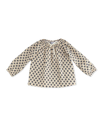 Stella Printed Gypsy Top, Blue/Cream, 3-24 Months