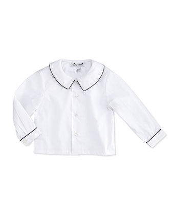 Peter Pan Collar Shirt, White/Blue, 3-24 Months