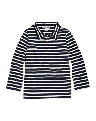 Striped Long-Sleeve Polo, Navy, 3M-12Y