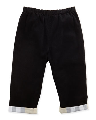 Check-Cuff Corduroy Pants, Black, 3-18 Months