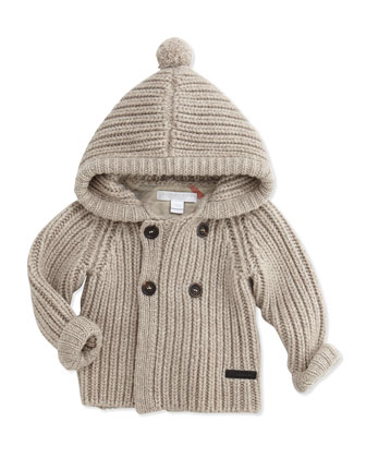 Cashmere-Knit Hooded Cardigan Sweater, Oatmeal, 3-24 Months