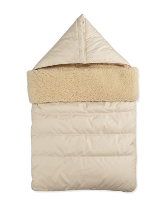Shearling Lined Baby Sleeper Bag, Natural White