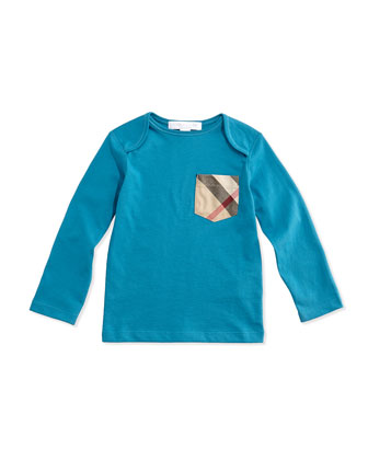 Long-Sleeve Check-Pocket Tee, Bright Turquoise, 3M-3Y
