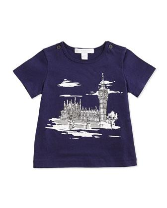 London-Sketch Tee, Regency Blue, 3M-3Y