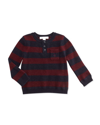 Cashmere Striped Henley Sweater, Deep Claret, 3M-3Y