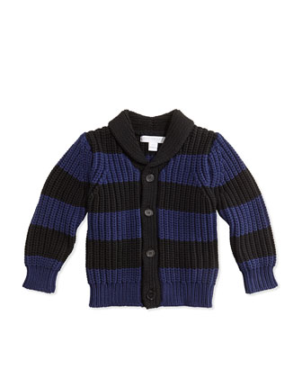 Striped Chunky-Knit Cardigan, Bright Navy/Black, 3M-3Y