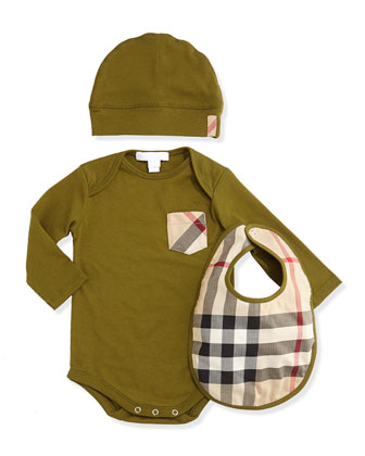 Playsuit, Hat, and Bib Set, Dark Lime, 3M-2Y