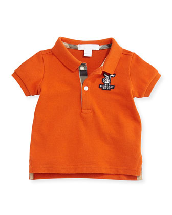 Infant Boys' Check-Trim Polo, Clementine, 3M-3Y
