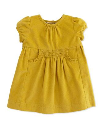 Short-Sleeve Corduroy Dress, Lemon Quartz, 3M-2Y