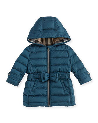 Puffer Jacket with Bow-Belt, Teal Blue, 6M-3Y