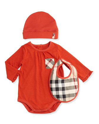 Playsuit, Hat, and Bib Set, Bright Russet, 3M-2Y