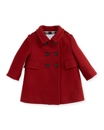 Wool-Blend Pea Coat, Damson Red, 6M-3Y