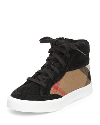 Suede/Canvas Check Hi-Top Sneaker, Black