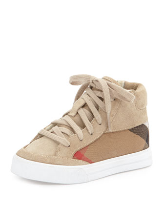 Canvas/Suede High-Top Sneaker, Stone, Kids