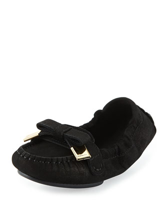Scrunched Leather Bow Loafer, Black, Youth