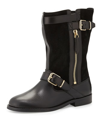 Two-Buckle Leather Boot, Black, Youth