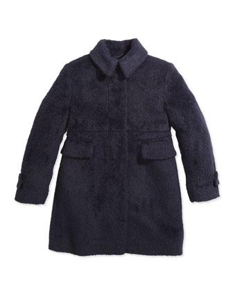Fuzzy London-Inspired Coat, Navy