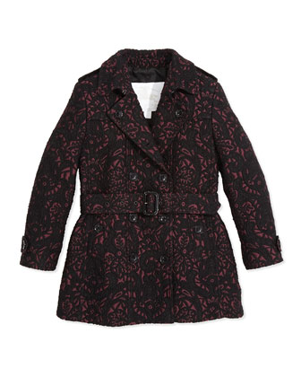 Double-Breasted Jacquard Trench Coat, Deep Claret, 8Y-14Y